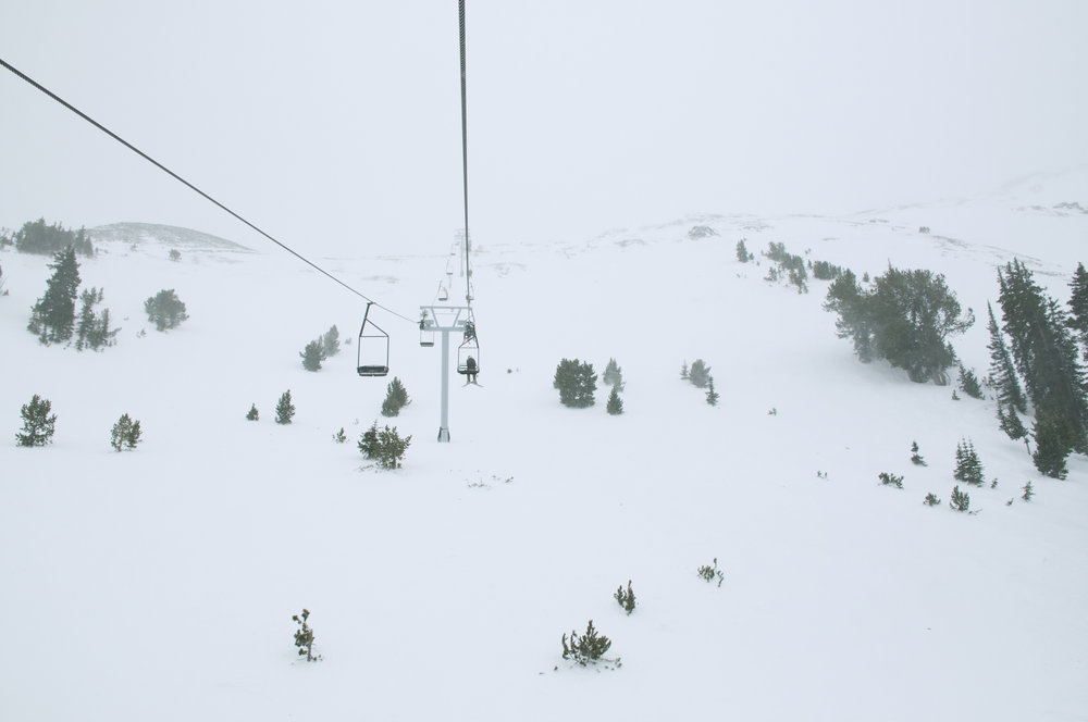 The chairlift up the Headwaters feels a bit like an elevator, and this week, going into the fog and wind, it felt even more so as visibility closed out.