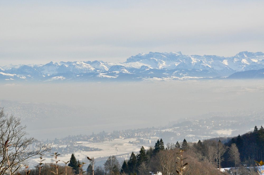 The view from Uto Kulm hotel looking back down to Zurich and the distant pre alps.