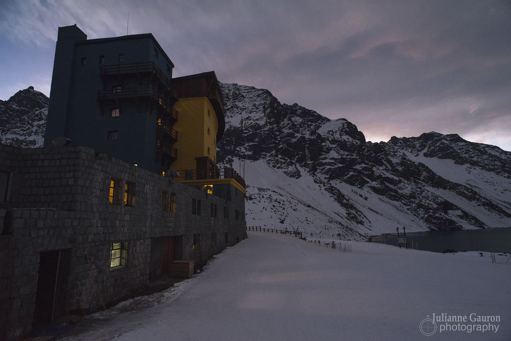 Hotel Portillo dwarfed by the Andes all around it.