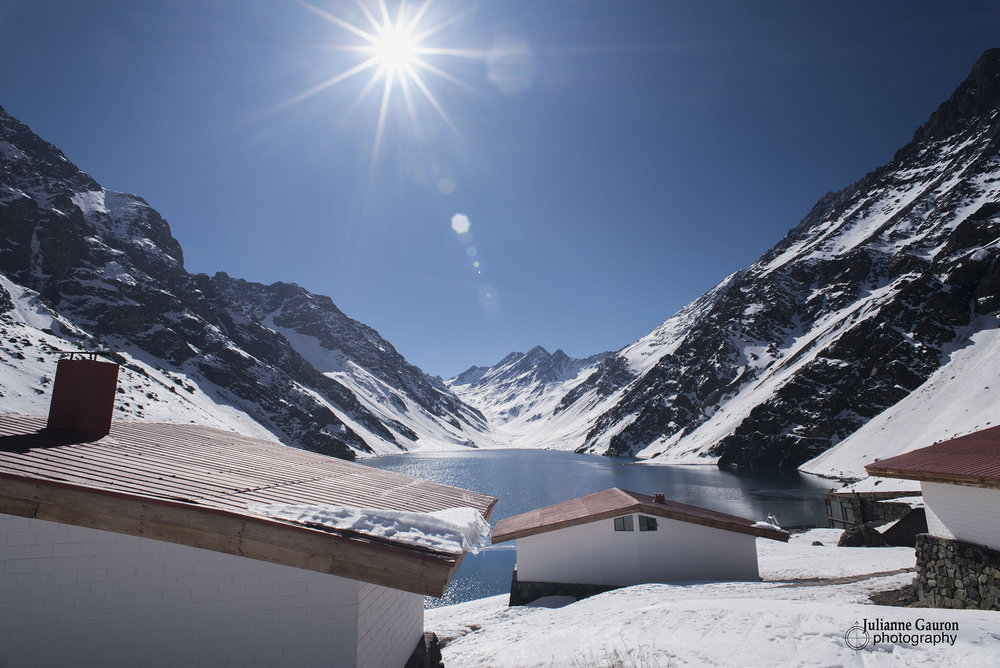 The trails all run down to Laguna del Inca which sits on the border of Chile and Argentina, so a steady stream of trucks chug up the pass, mixing with heli's taking off for powder runs. But the location is remote and peaceful, just like none other.