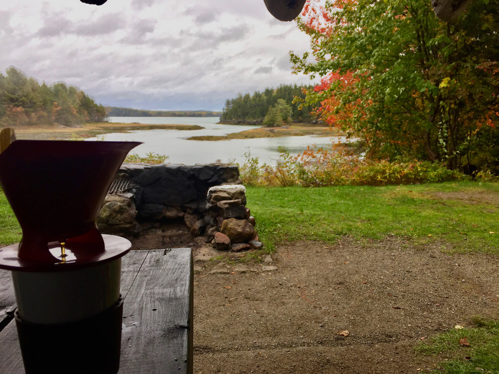 Best morning view for a cup of coffee.  Ever. Cobscook State Park, Dennysville Maine