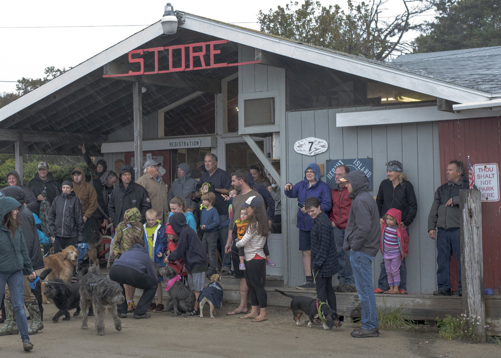 Sadly, for dog weekend enthusiasts the rain came in hard, but the human's still showed up at the Kelp Shack and Store on time, the dogs appeared less psyched.