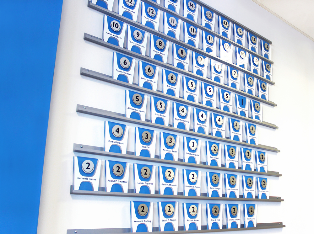 The rail system allows the dealership to modify the recognition wall as needed.