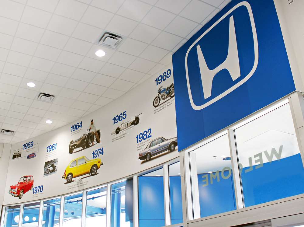 A Honda wall mural displaying significant vehicles and milestone years for the automaker.