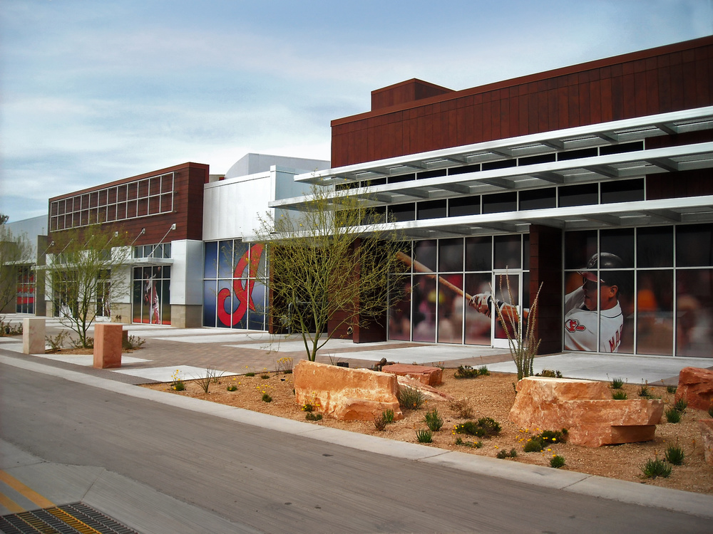 The windows at the Goodyear Ballpark are wrapped with digitally printed film.