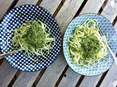Raw zucchini spaghetti w/vegan pesto!