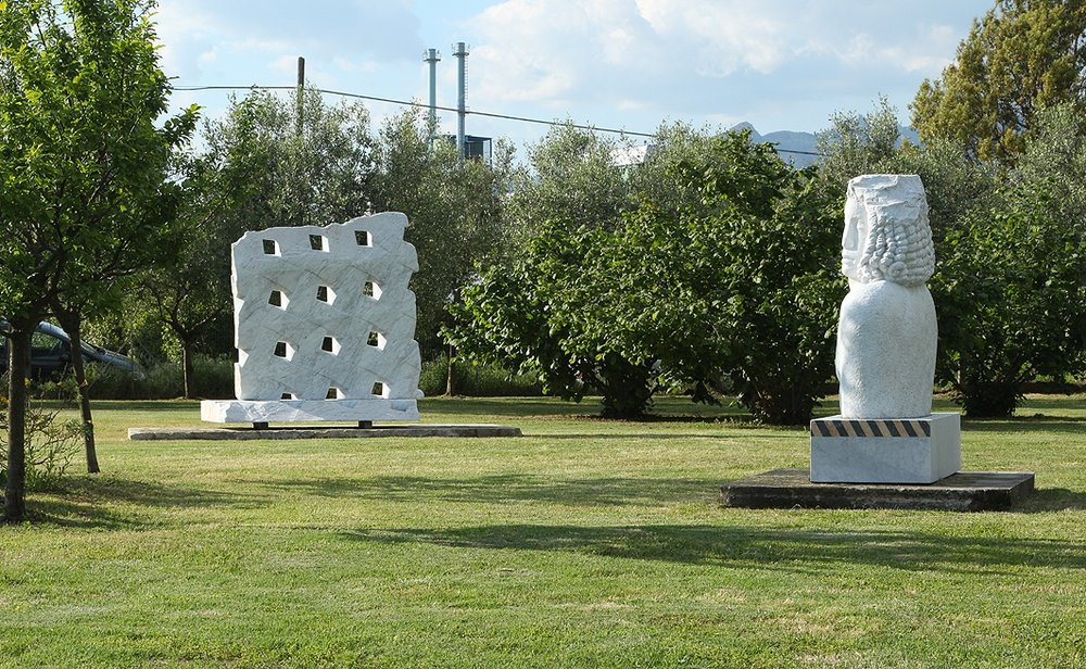 The sculptures of Alena Matejkova (left) and Lars Widenfalk in the garden