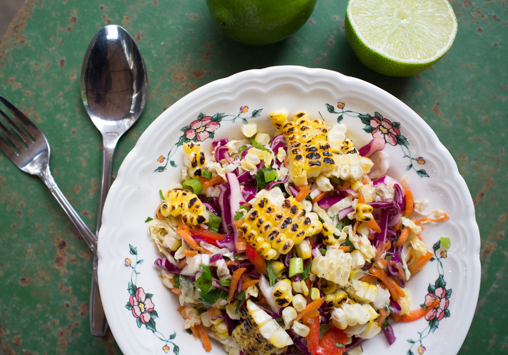 The secret to this slaw is the charred flavour of the grilled corn, DO NOT skip this step as the corn is the star of this slaw.