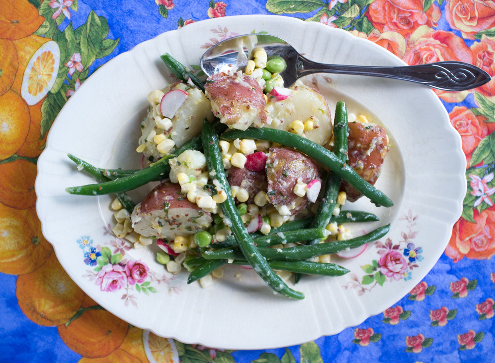A simple potato salad tossed in a mustard vinaigrette.