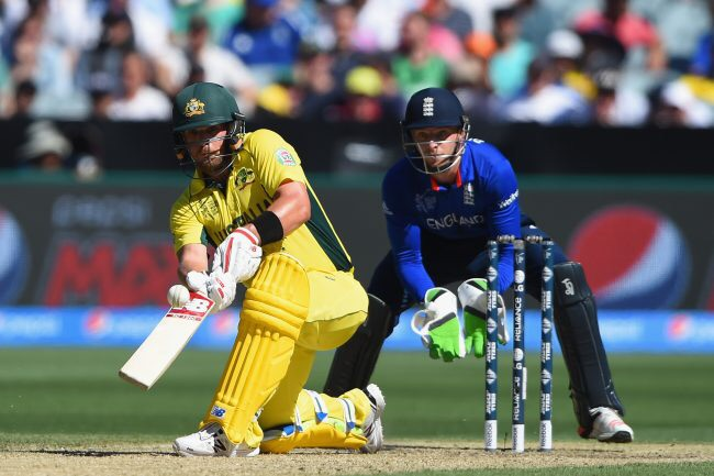 Aaron Finch playing a scoop shot - brilliant strong base with his head still
