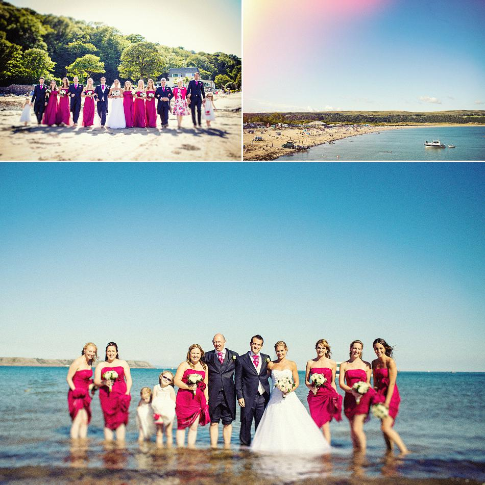 bridal party in the sea