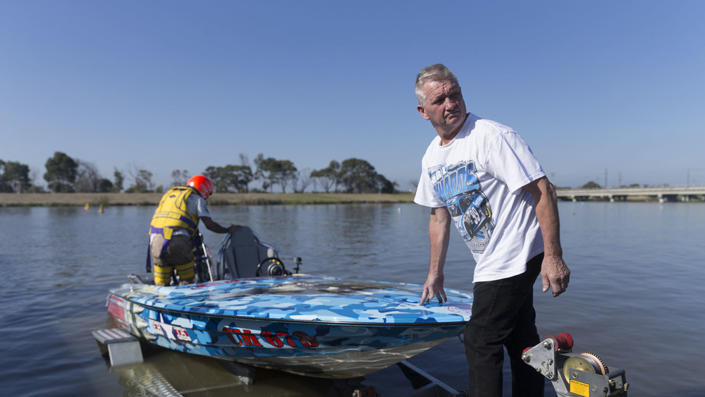 Drag Boats: Carrum: National Water Sports Centre; Armageddon is launched