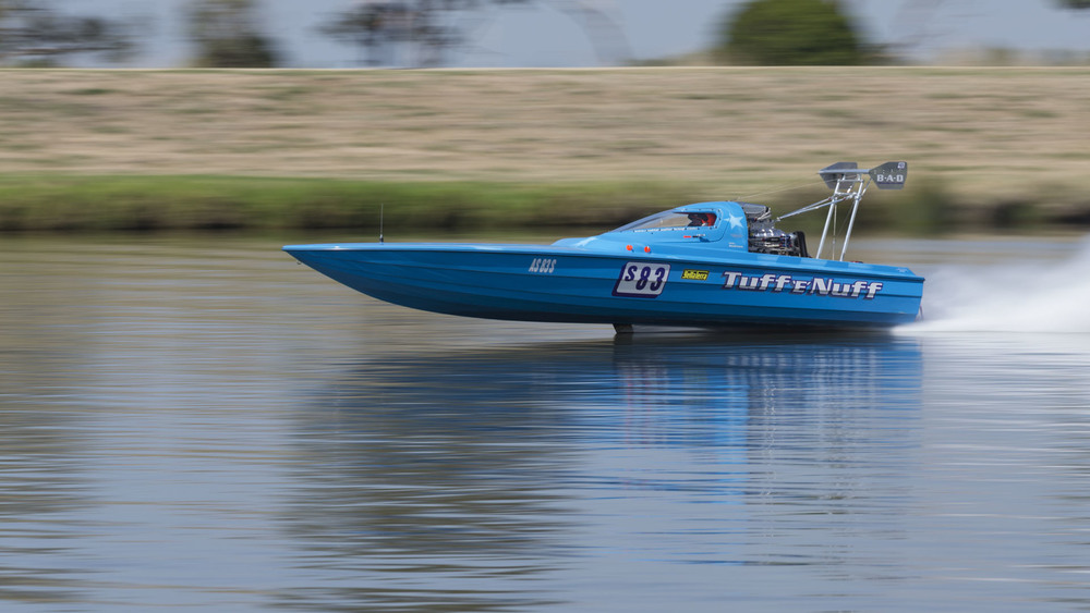 Drag Boats: Carrum: National Water Sports Centre; Daved Clark in Tuff 'E' Nuff; Yellow Terra Title
