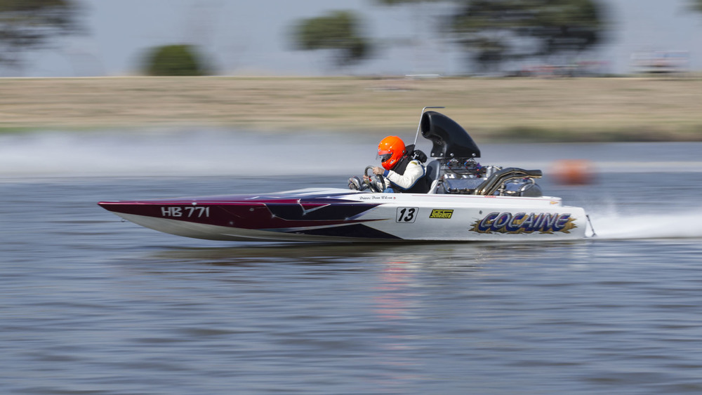 Drag Boats: Carrum: National Water Sports Centre; Dean Wilson in Cocaine is out run