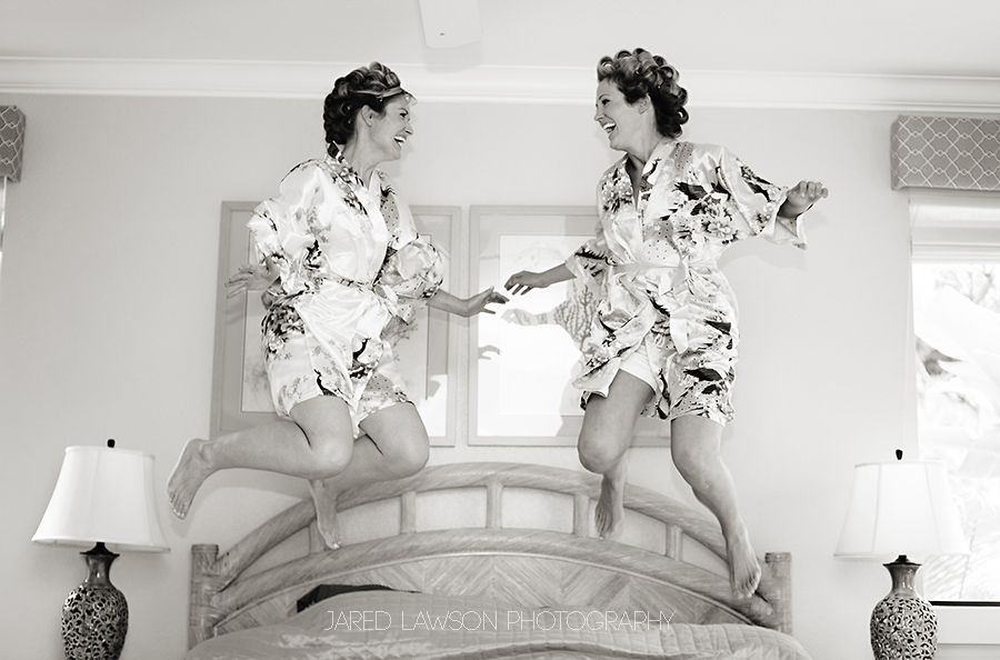 Wedding Pictures Jumping On Bed In Robes