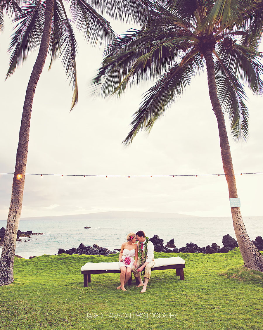 Hawaii Beach Wedding Pictures with Palm Trees