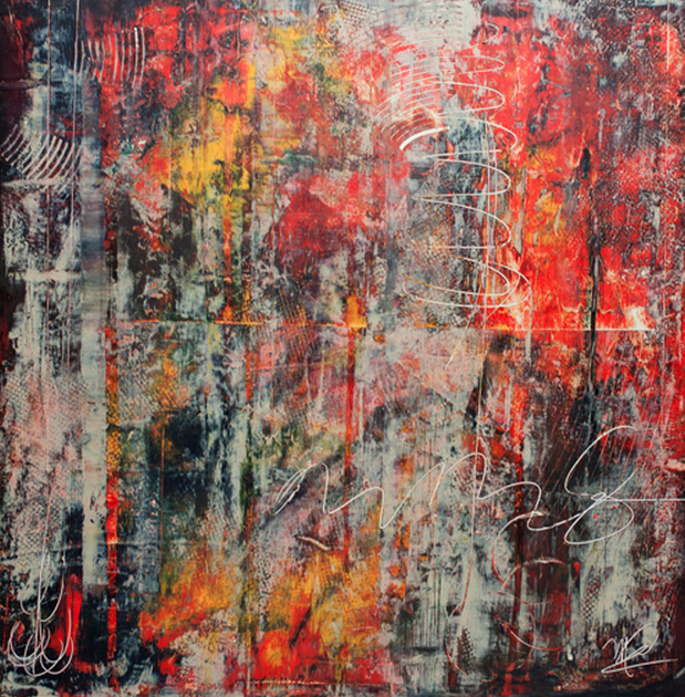 Fire Within, by Miguel Cruz. Miguel uses wax, oils and full encaustics to create these deeply textured works.