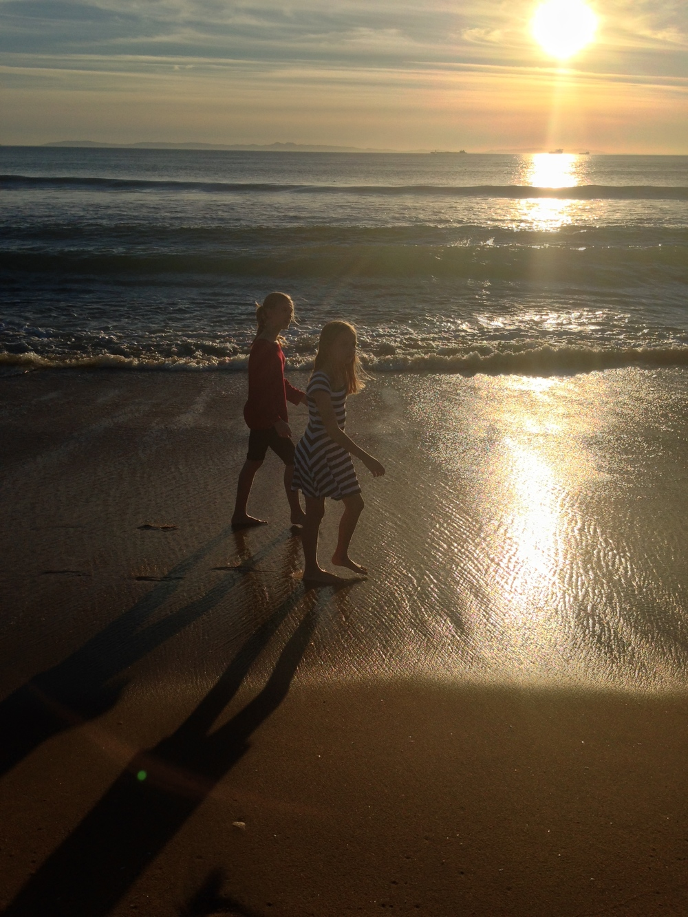 My girls walk on water -- this time south of Long Beach, CA in December.