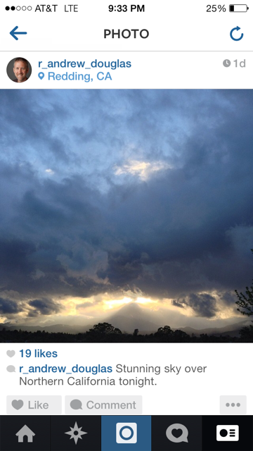 Yesterday I captured a breathtaking view of heaven over Redding on Instagram.