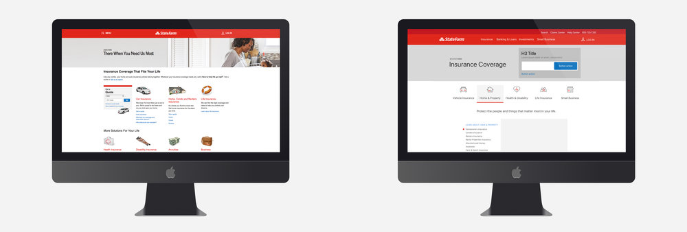 Left - Old Design          |         Right - New Design Templates  Link to SF Insurance Site:  https://www.statefarm.com/insurance   Link to SF Bank Site:  https://www.statefarm.com/finances/banking