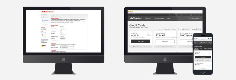 Left - Old Design          |         Right - New Design Templates  Link to SF Bank Site:  https://www.statefarm.com/finances/banking