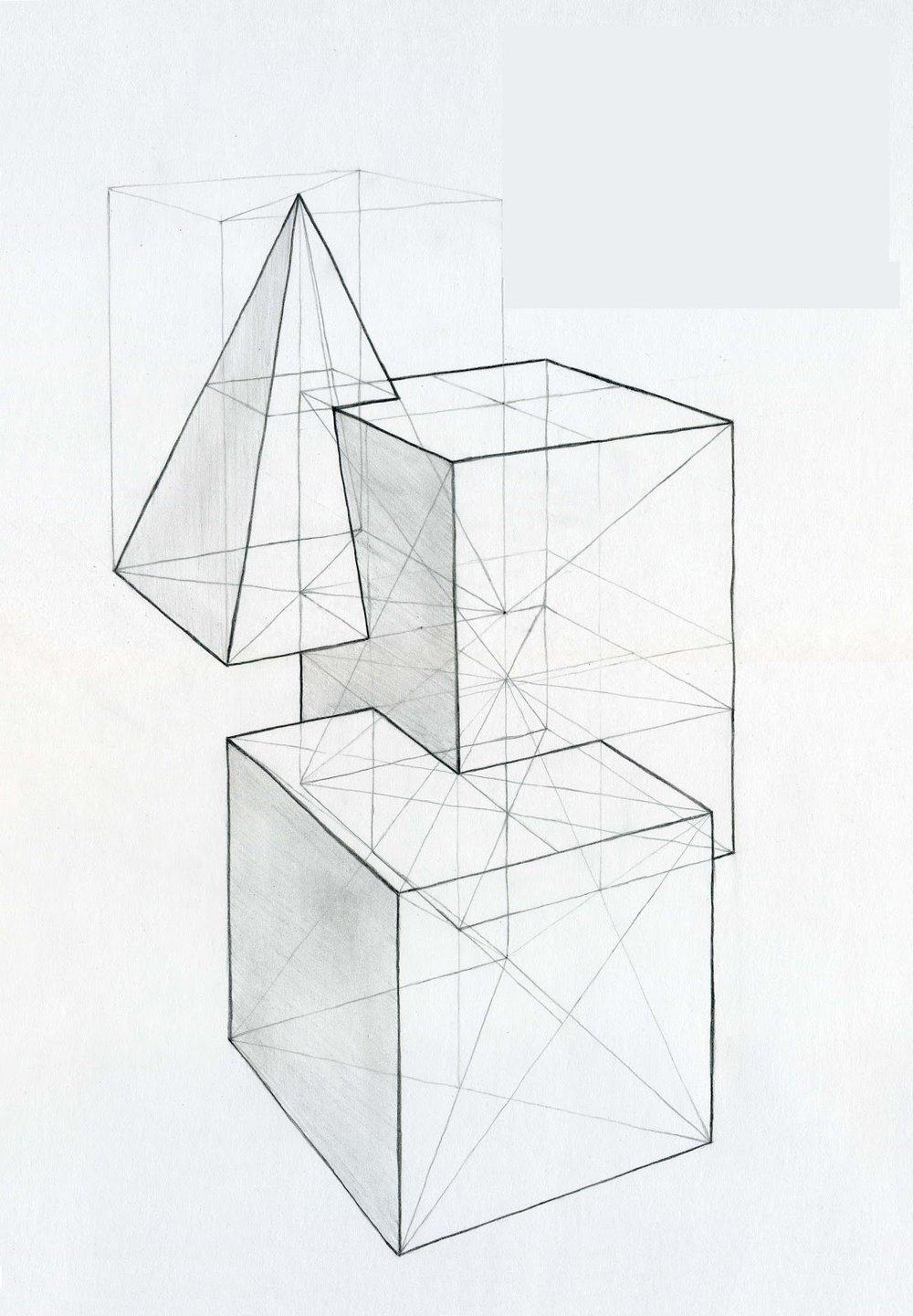 От простого к сложному - Начинаем рисовать с простейших геометрических фигур - куба, пирамиды, призмы, затем цилиндра, шара. Сначала рисуем каркас, потом, по мере того, как станет получаться что-то более-менее похожее - штрихуем. Только потом переходим к изображению групп фигур, начинаем прорисовывать фон и т. д.