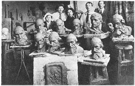 В студии академии «Бецалель» (1914).