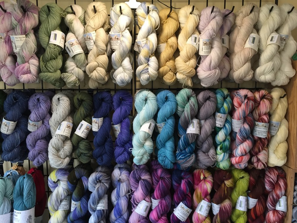 Carole's Hand dyed yarn... - available in three different bases and all of the dyed in The Yarn Shop kitchen.These are one of a kind, with only 3 or 4 to a dyepot, please get all of the color that you will need for your project.