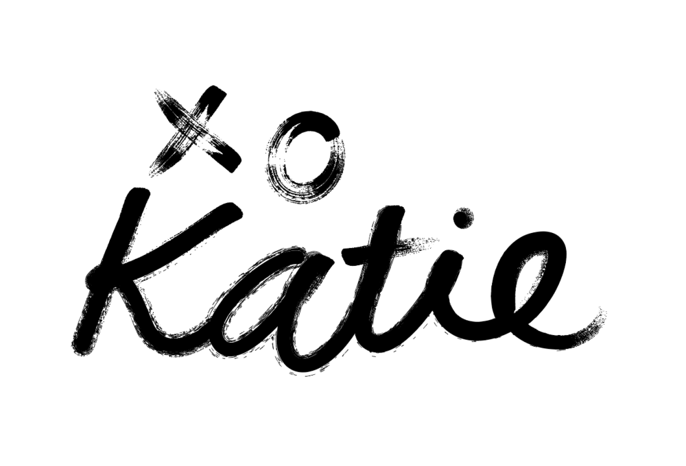 Signed with a chocolate kiss. - Katie always signs her blog posts