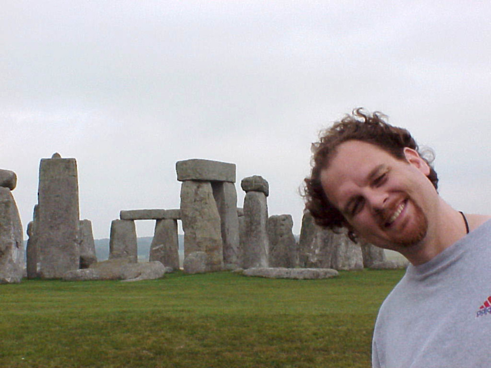 A young me at Stonehenge... good lord my wife looks exactly the same... me?  not so much
