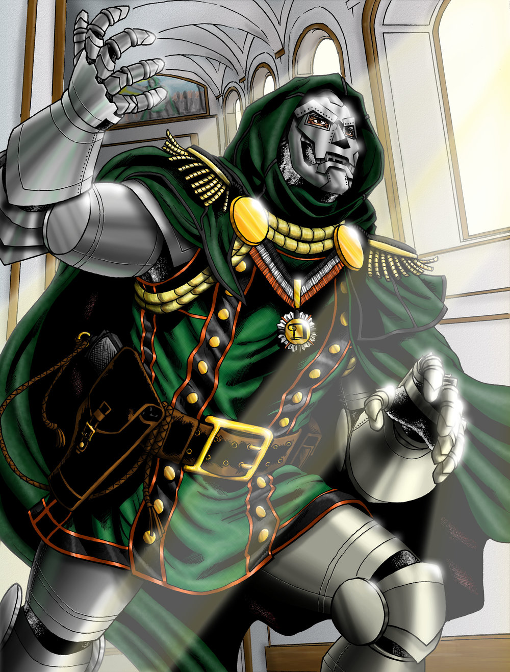 My colors over Jason Baroody's Dr Doom... I should have done a color hold on the architectural details