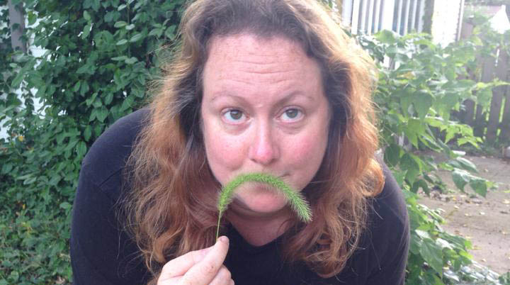 Susan with a foliage moustache