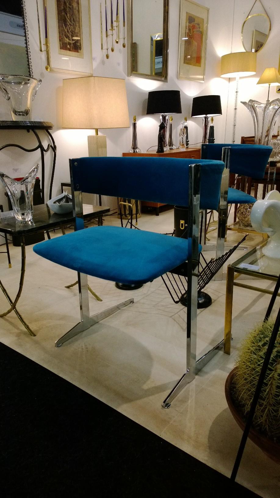 Italian 1970s chrome and velvet chairs
