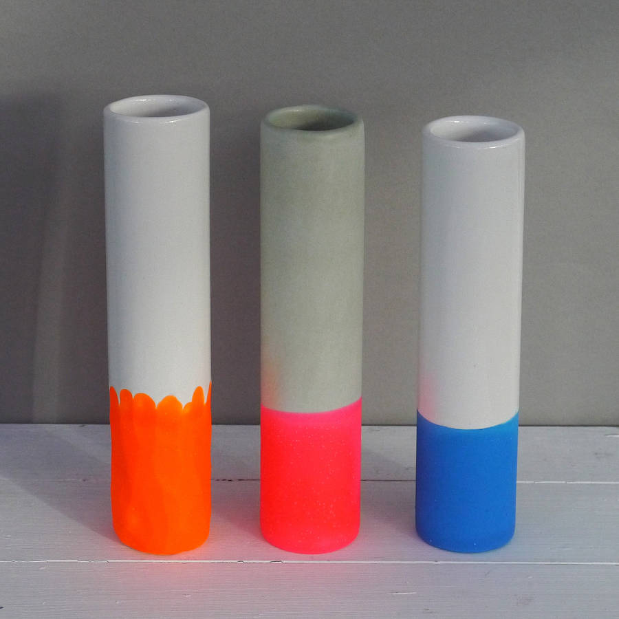 I absolutely LOVE these neon single stem vases. You can also choose the finish of the material.  Neon single stem vases, £16 each