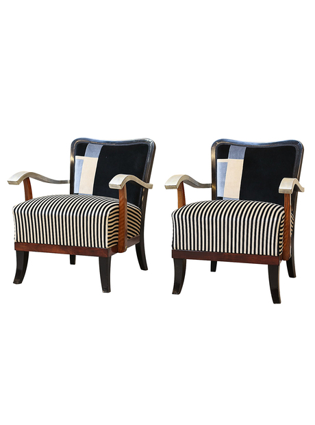 Pair of Art Deco Cubist Armchairs
