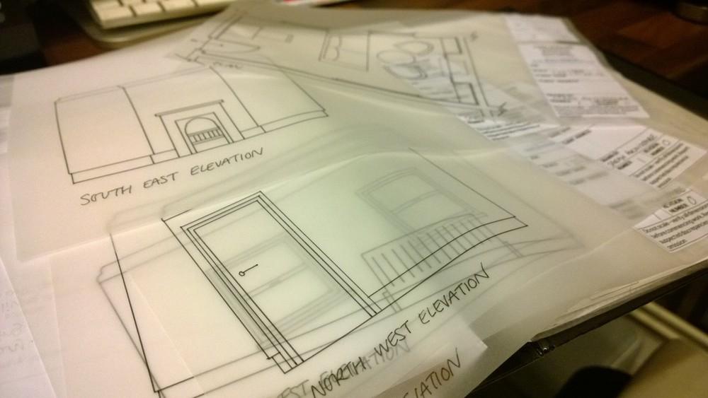 KLC interior design diploma inked drawings