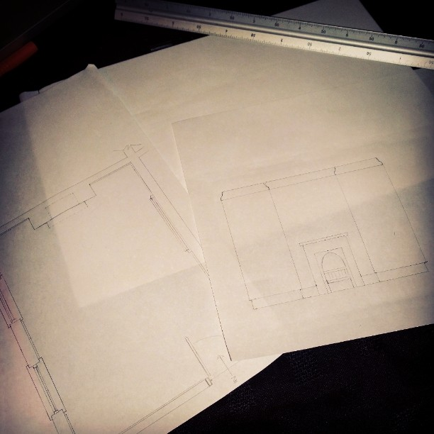 Pencil technical drawings to scale KLC interior design