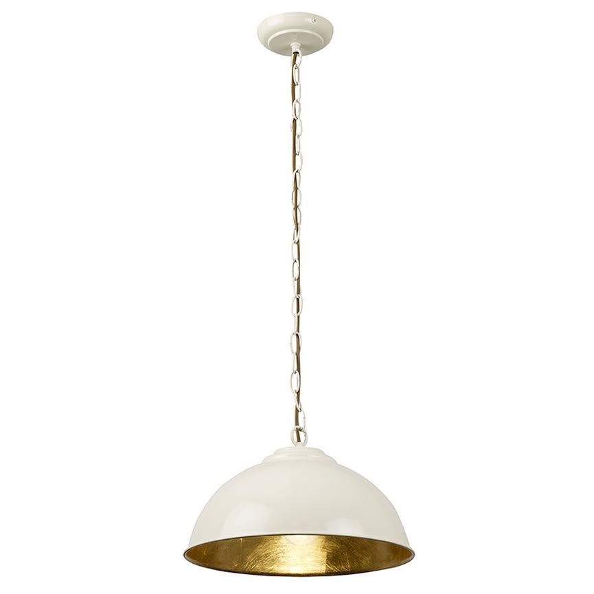 cream and brass pendant light