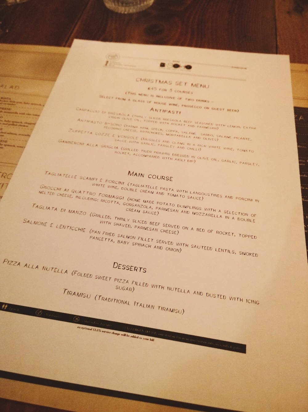Bsoho christmas set menu
