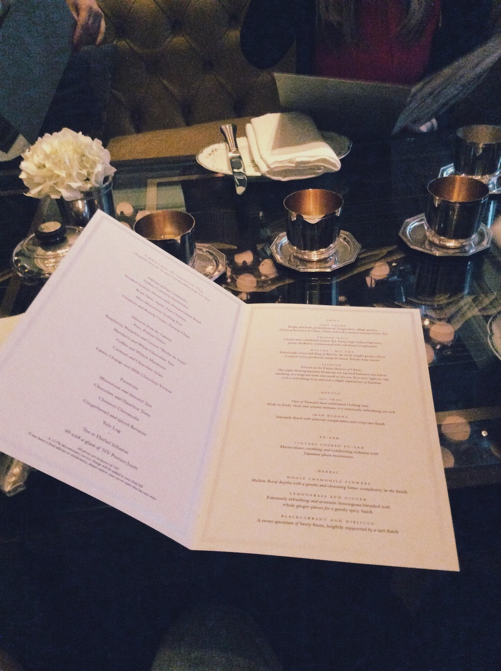 menu at the rosewood hotel