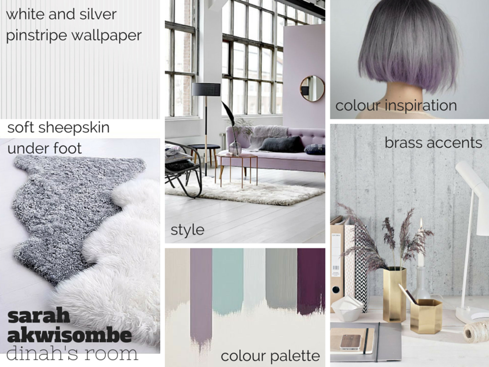 grey lavender purple moodboard