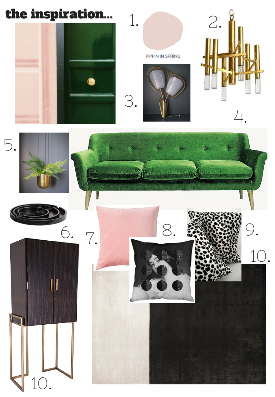 Colour schemes blush pink emerald green and brass for Pink and green living room ideas