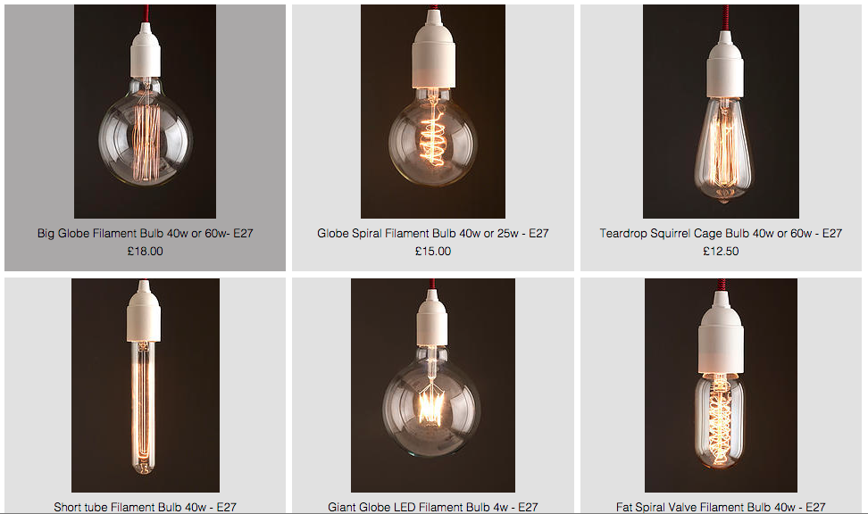 filament light bulbs