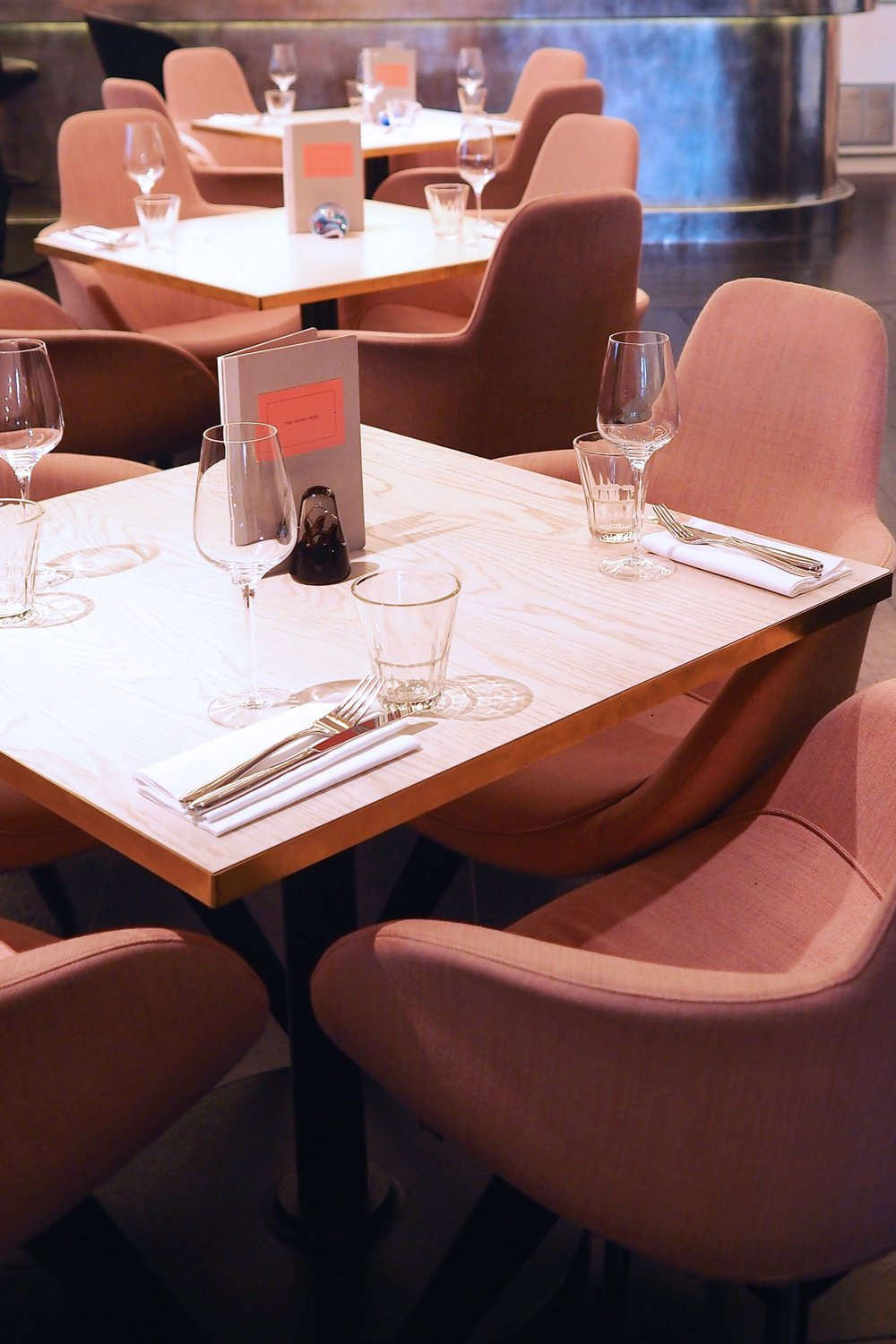 The amazing pink, green and brass interiors at Tom Dixon designed restaurant Bronte in London.