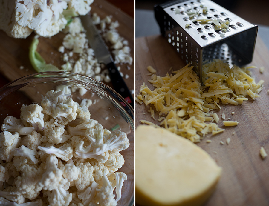 chopped cauliflower, grated irish cheddar for cheddar cauliflower soup.