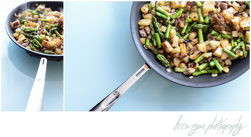 sausage asparagus hash with egg