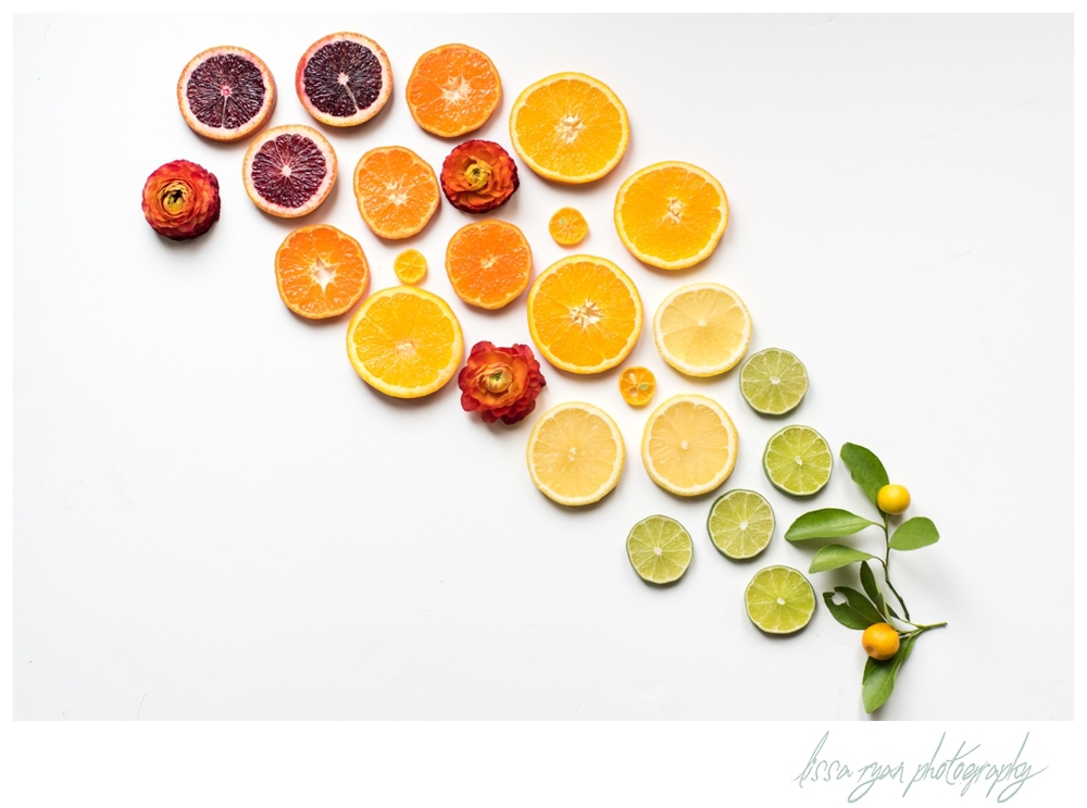 citrus rainbow food styling washington dc food photographer lissa ryan photography blood orange lemon lime calamansi tangerine ranunculus