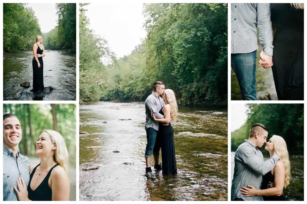 Rainy riverside engagement session in Patapsco by fine art wedding photographer Lissa Ryan Photography