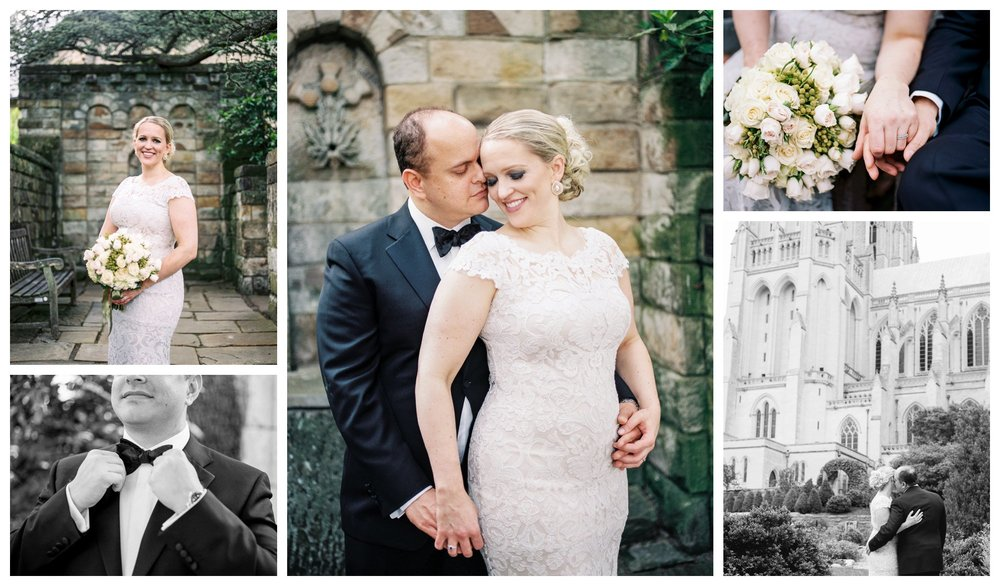 stylish wedding portraits in the Bishop's Garden of the National Cathedral by Washington DC fine art photographer Lissa Ryan Photography