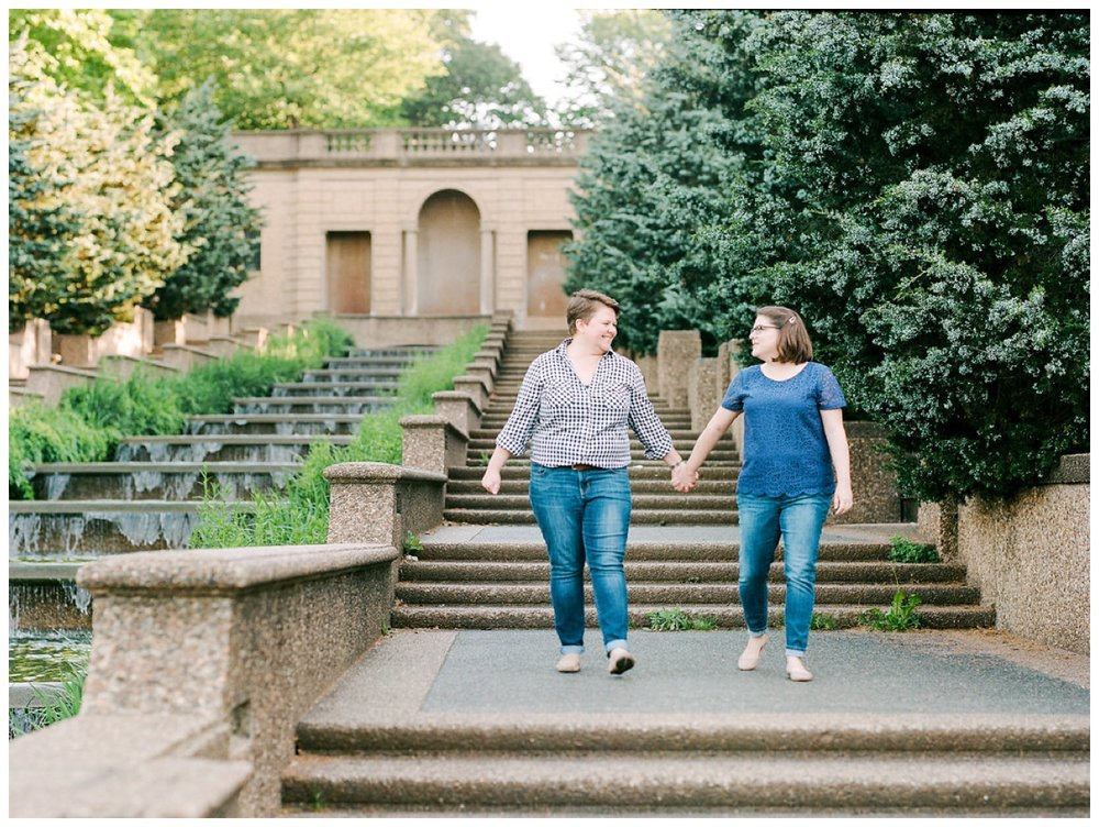 Springtime same-sex engagement session in Meridian Hill Park Washington DC by fine art wedding photographer Lissa Ryan Photography
